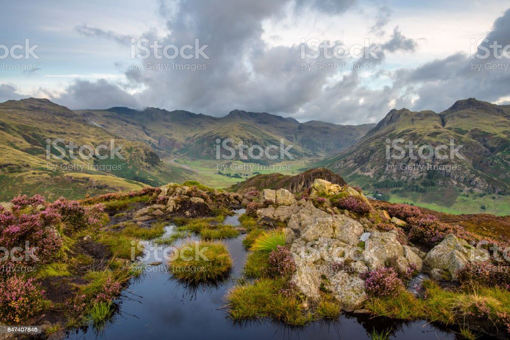 Langdale Pikes From Lingmoor Fell. stock photo