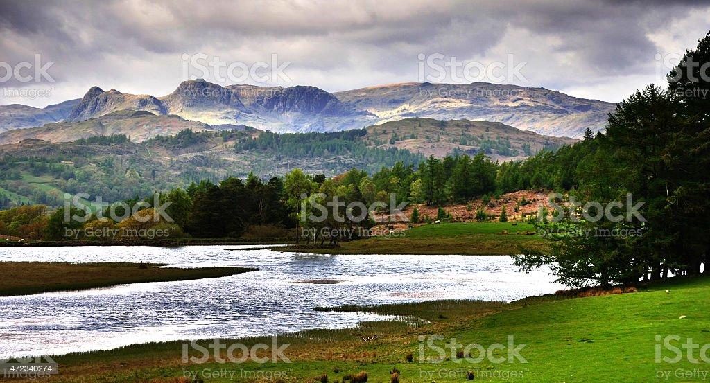 Langdale Pikes & Moss Eccles Tarn stock photo