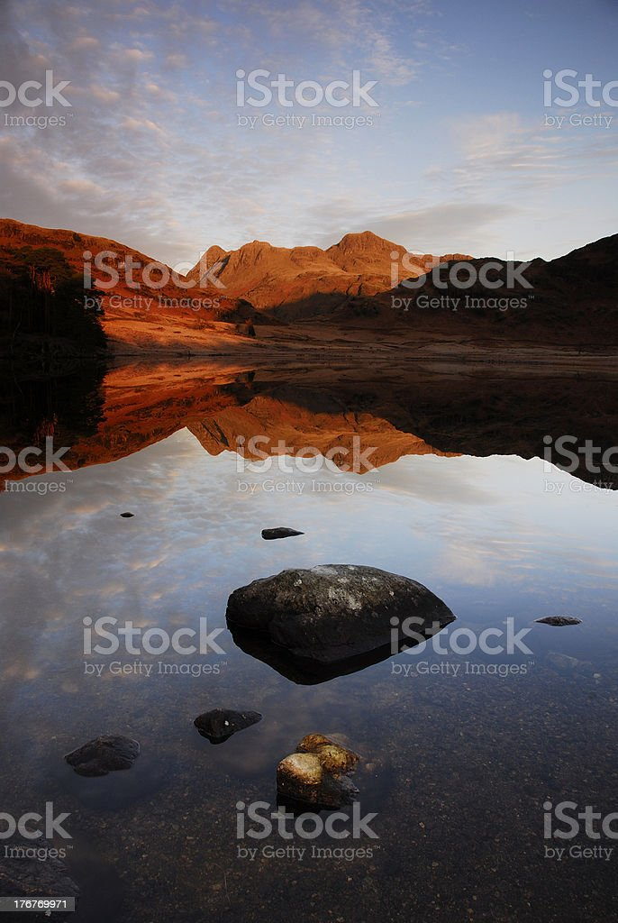 Langdale Pikes reflected in Blea Tarn royalty-free stock photo