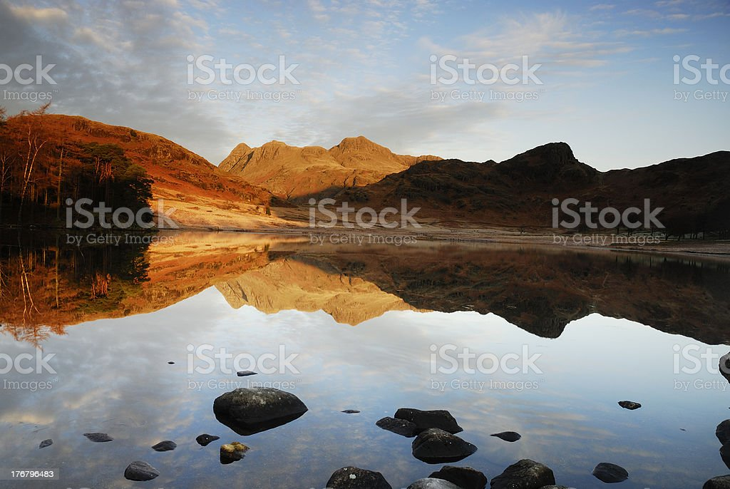 Langdale Pikes reflected in Blea Tarn stock photo