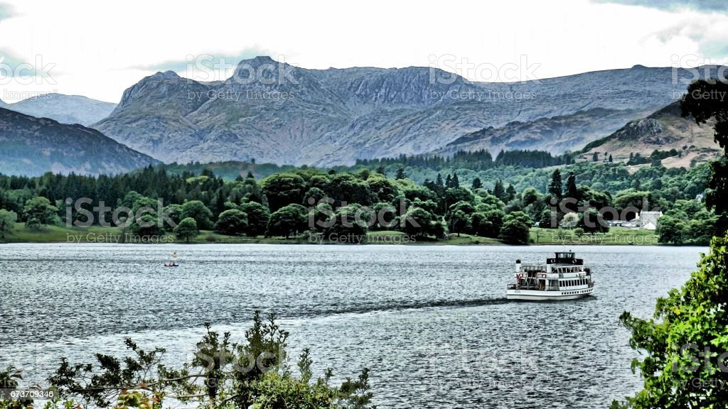 Langdale Pikes & Windermere Ferry Lake District stock photo