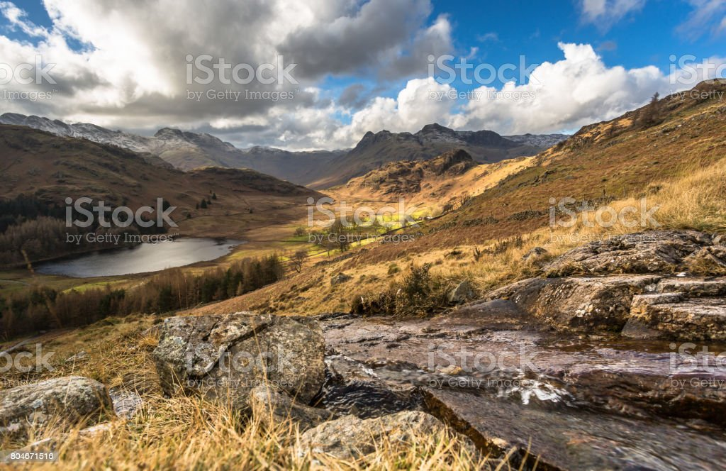 Langdale Valley and Blea Tarn stock photo