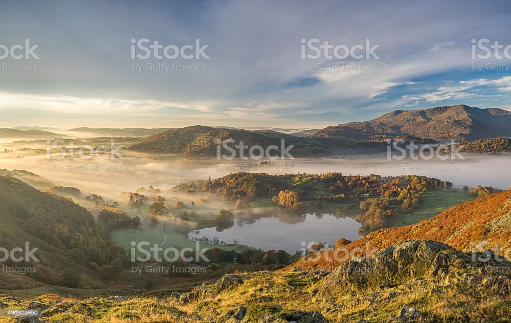 Langdale Valley Autumn Sunrise stock photo
