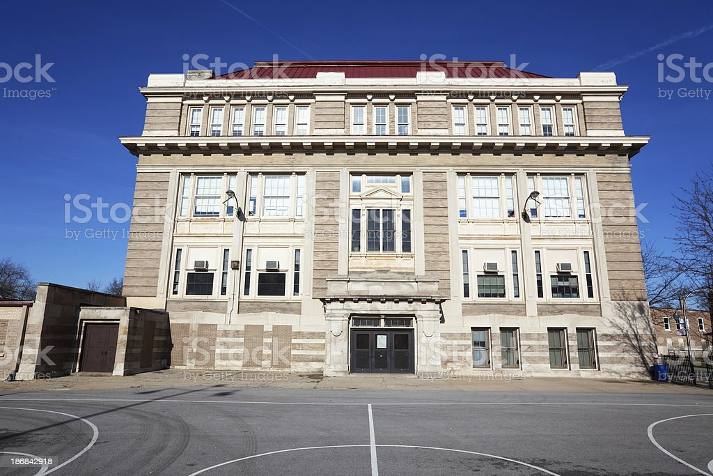 Langford Community Academy in West Englewood, Chicago royalty-free stock photo
