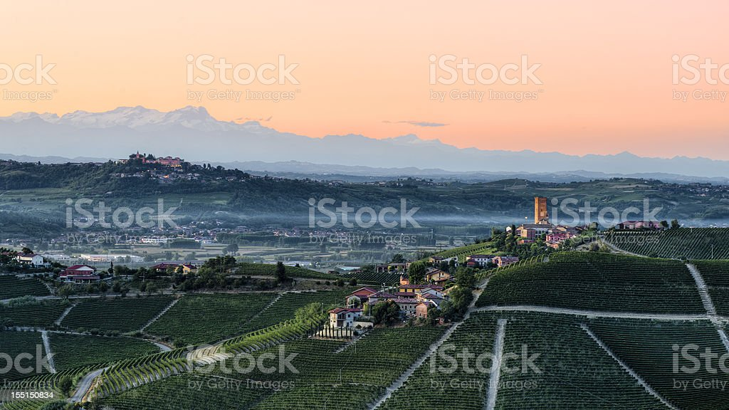 Langhe, Piedmont at dusk royalty-free stock photo