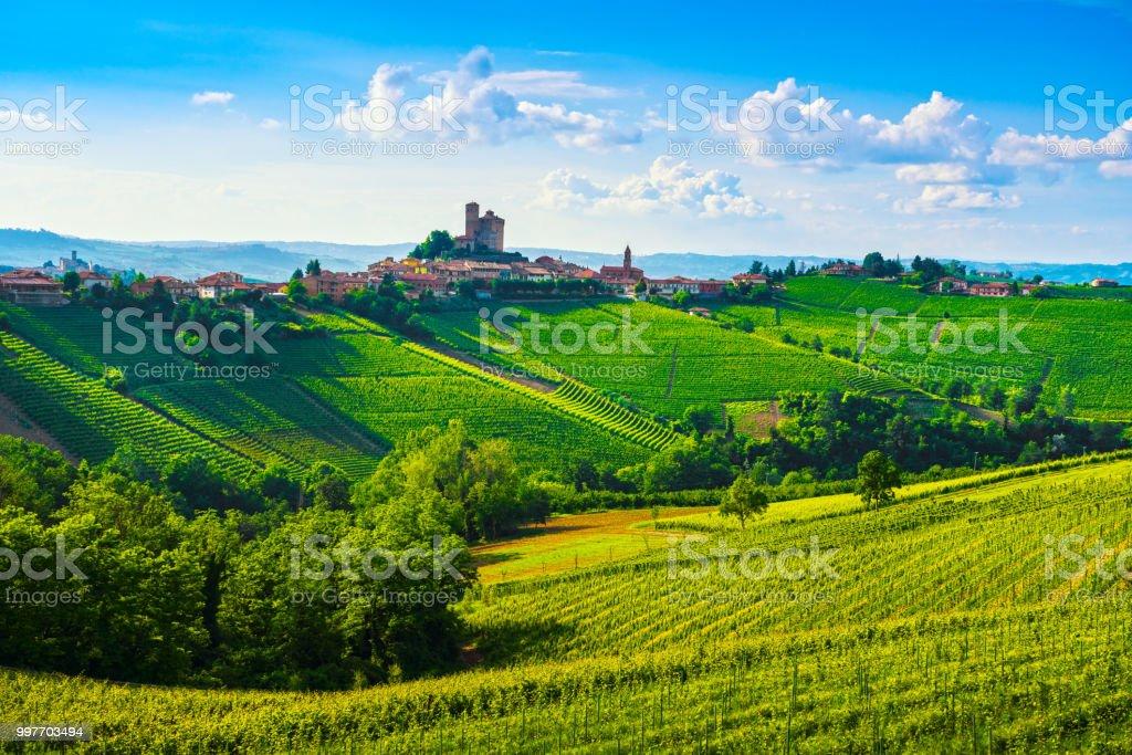 Langhe vineyards sunset panorama, Serralunga Alba, Piedmont, Italy Europe. - foto stock