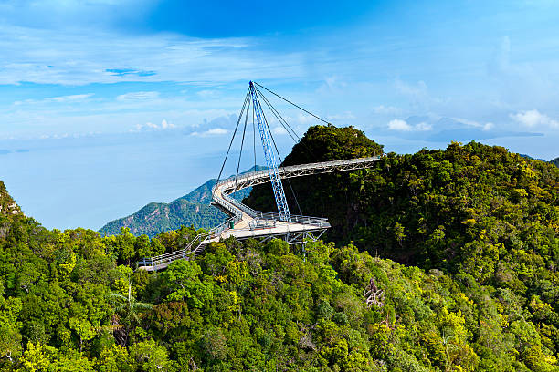 langkawi skybridge amazing cable bridge over the tropical rainforest island landscape in langkawi, malaysia. elevated walkway stock pictures, royalty-free photos & images