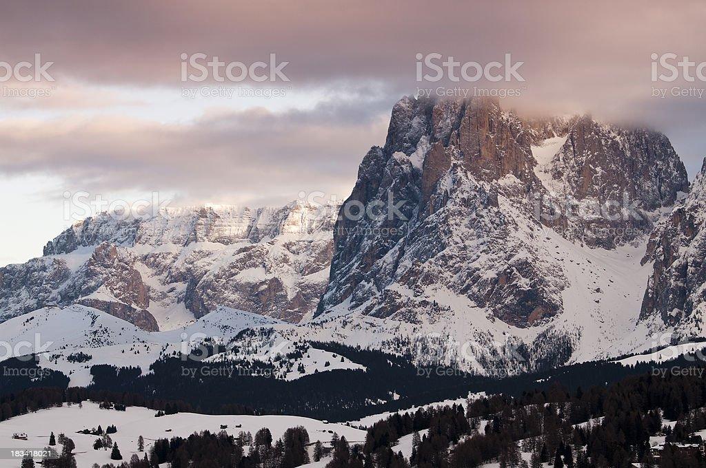 Langkofel and Sella mountain group - Dolomites, Alps royalty-free stock photo