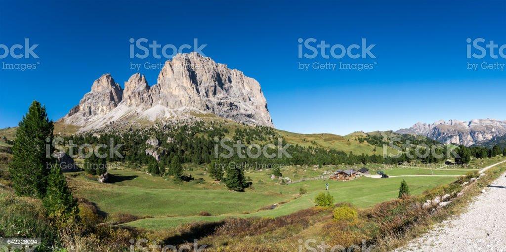Langkofel Dolomites panorama   South Tirol Italy stock photo