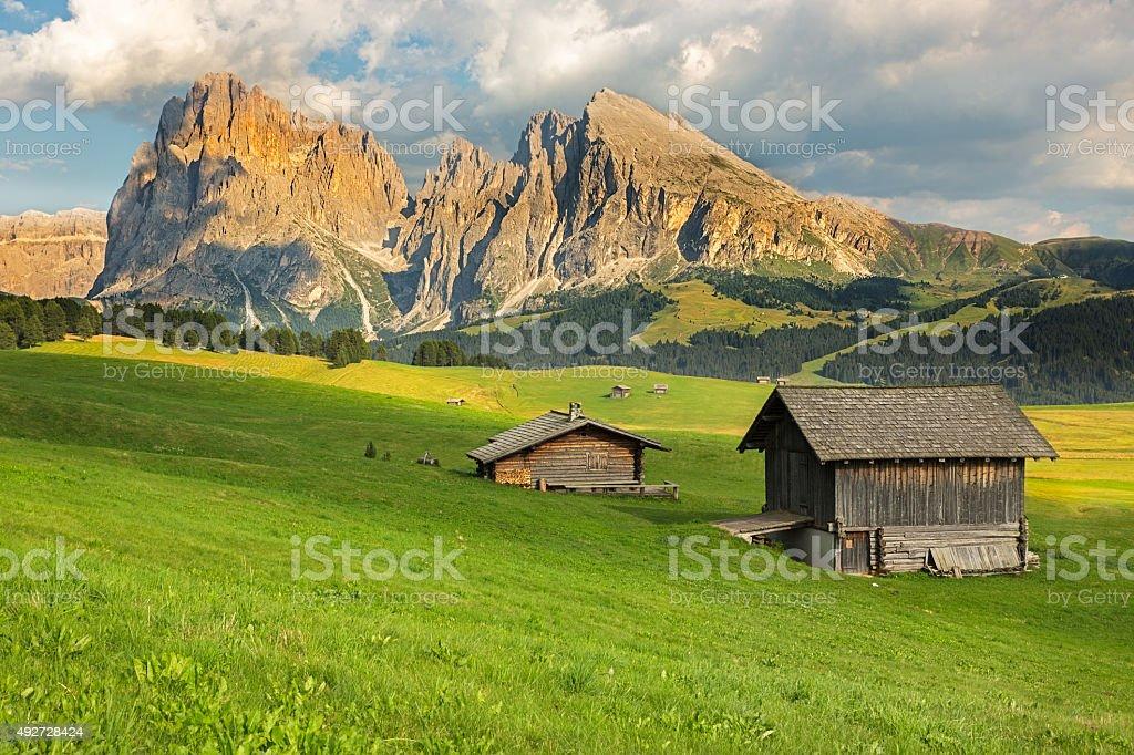 Langkofel Group at Seiser Alm, South Tyrol, Italy stock photo