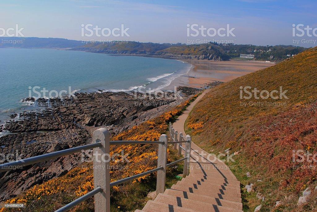 Langland Bay Coastal Path & Beach Swansea, Wales stock photo