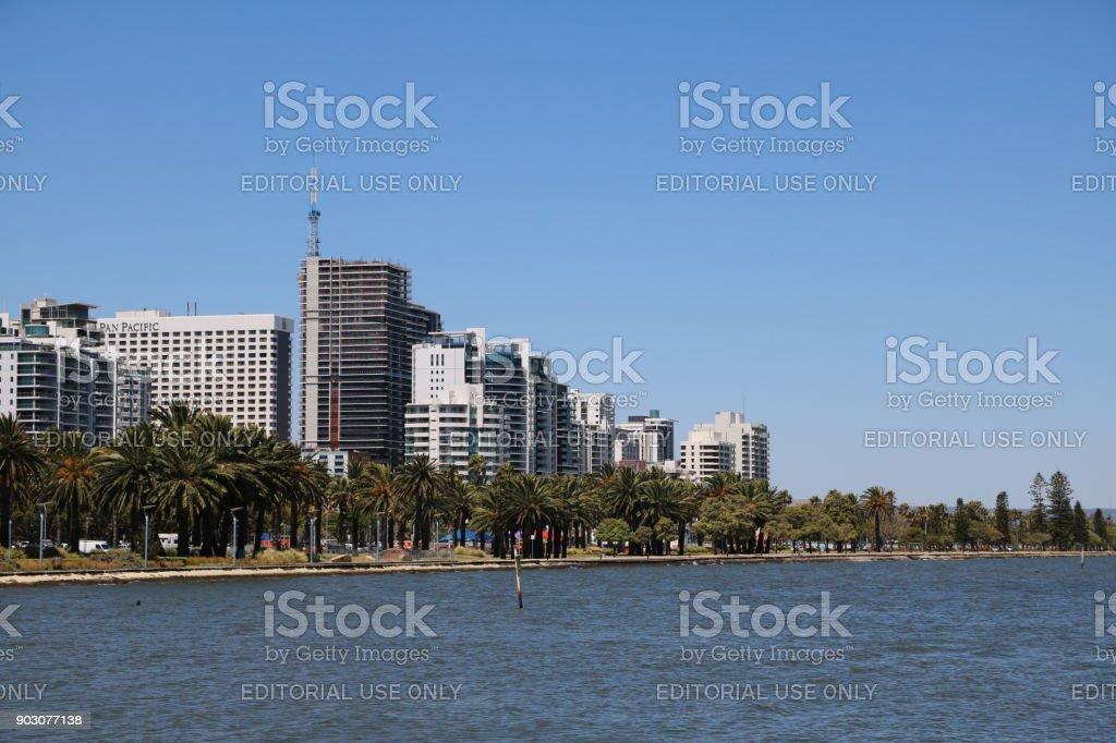 Langley Park in Perth at Swan River, Western Australia stock photo