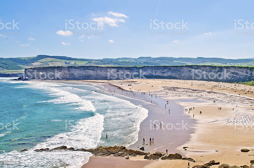 Langre beach Langre beach at Cantabria, Spain. 2013 Stock Photo