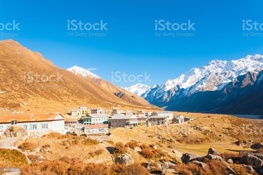 Langtang Himalayas Mountain Kyanjin Gompa Village stock photo