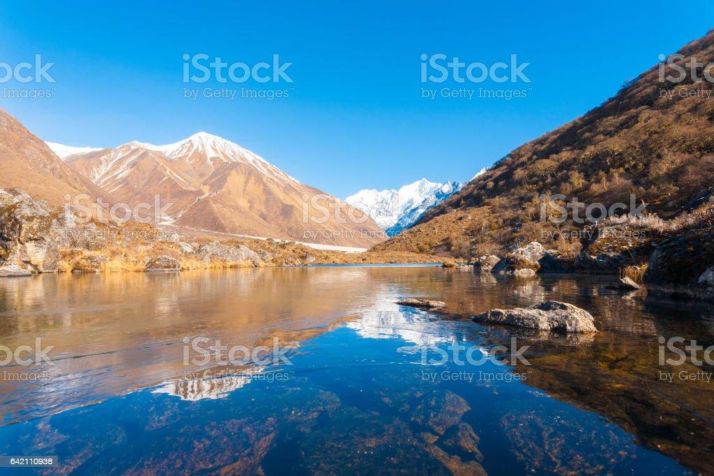 Langtang Himalayas Mountain Range Frozen Pond H stock photo