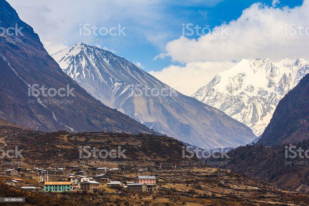 Langtang village valley and scenery of himalaya mountain range stock photo
