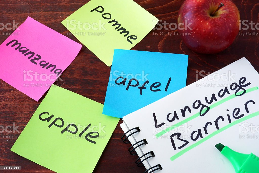 Language Barrier concept. stock photo