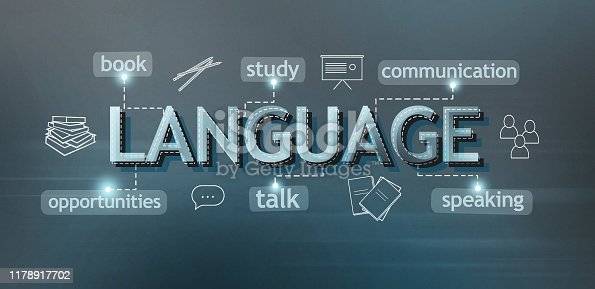 Language courses advertisement with different possibilities on blue background, panorama