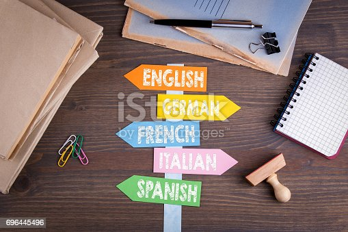 languages concept, English, Italian, German, French, Spanish. Paper signpost on a wooden desk