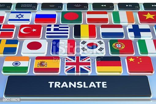 istock Languages translation concept, online translator 590248626