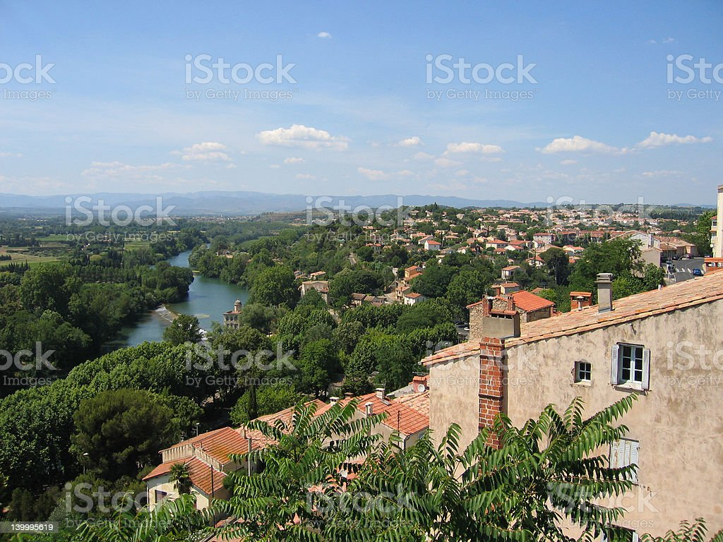 Languedoc landscape with the River Orb royalty-free stock photo