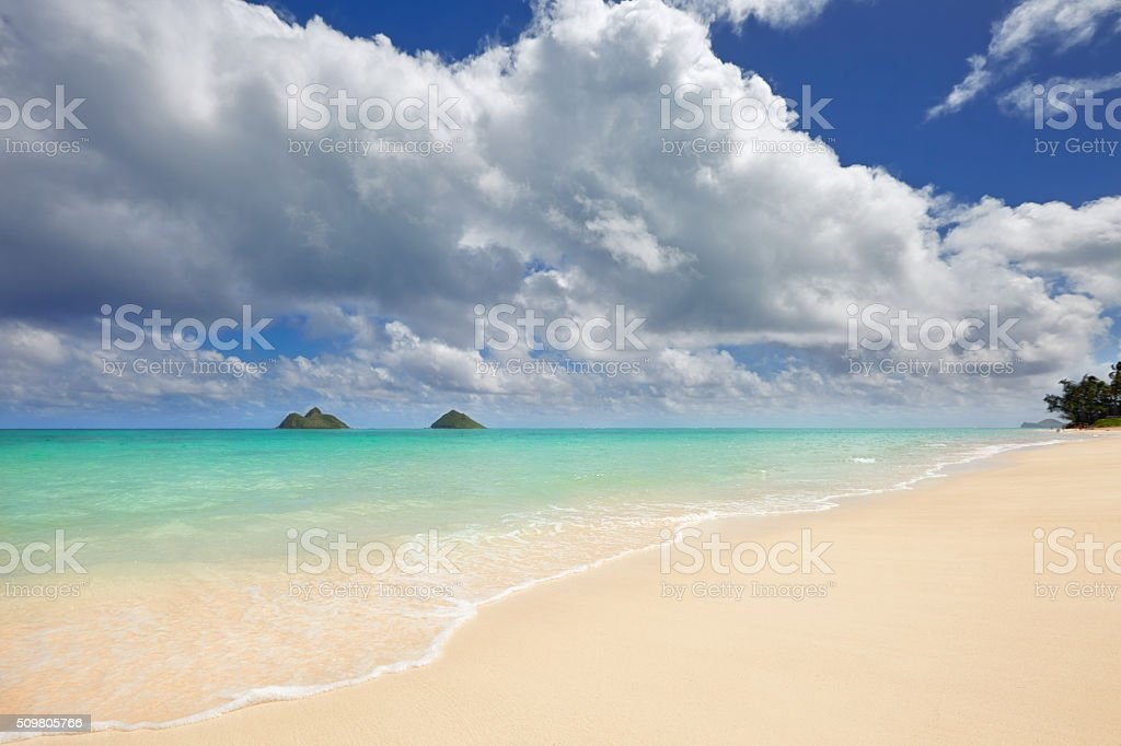 Lanikai Beach and Mokulua Islands, O'ahu, Hawai'i stock photo