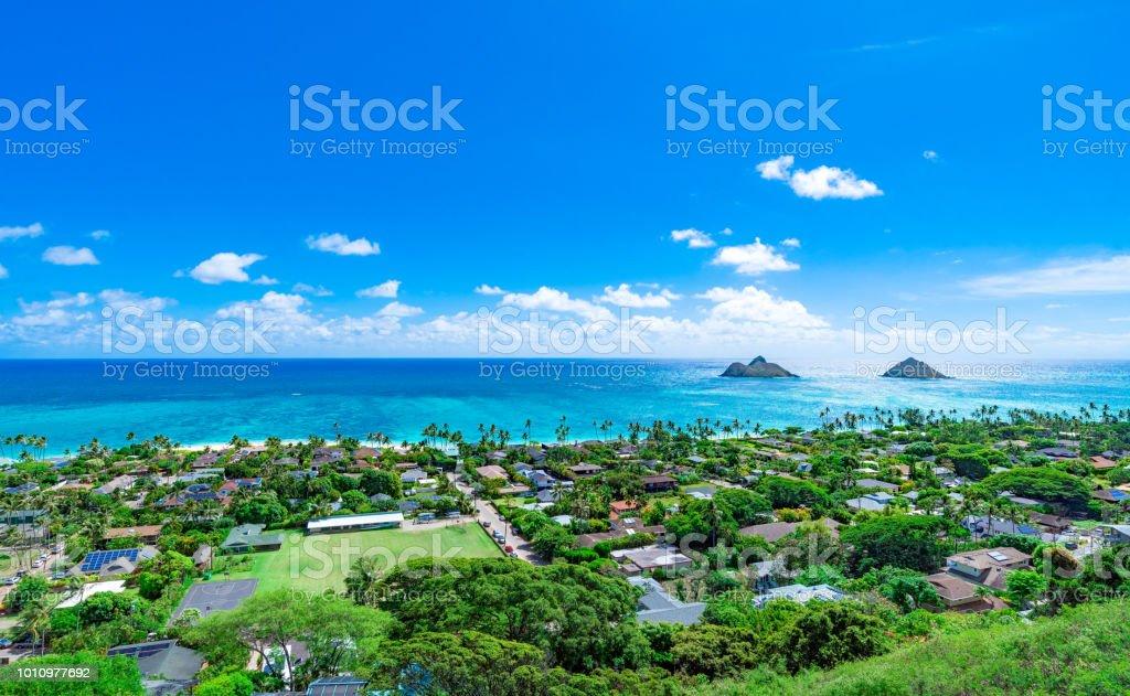 Lanikai Beach As Seen From Above In Kailua Oahu Hawaii Stock