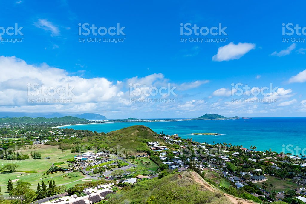 Lanikai Beach as seen from above in Kailua, Oahu, Hawaii royalty-free stock photo