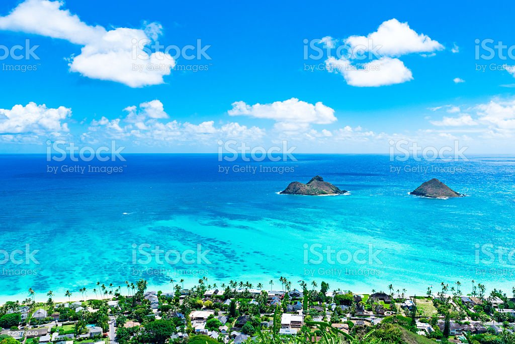 Lanikai Beach as seen from above in Kailua, Oahu, Hawaii stock photo