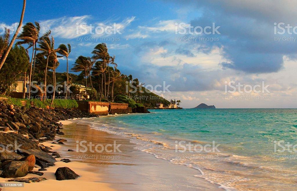 Lanikai beach homes at sunrise on Oahu Hawaii stock photo