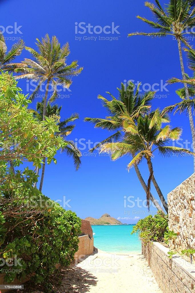 Lanikai mokes and beach access on Oahu Hawaii stock photo