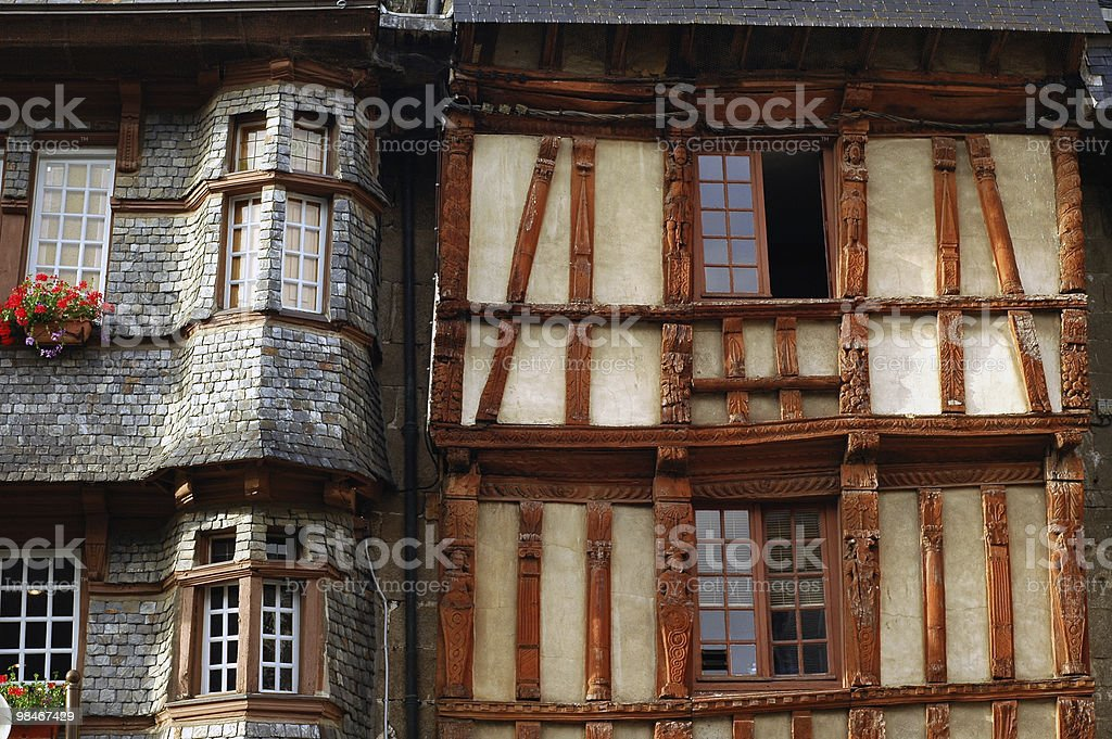 Lannion (Cotes-d'Armor, Brittany, France) - Old houses royalty-free stock photo
