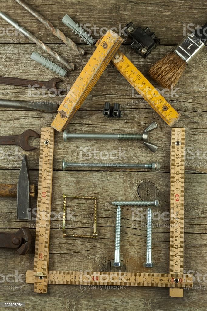 lans to build a house. Rustic wooden background stock photo
