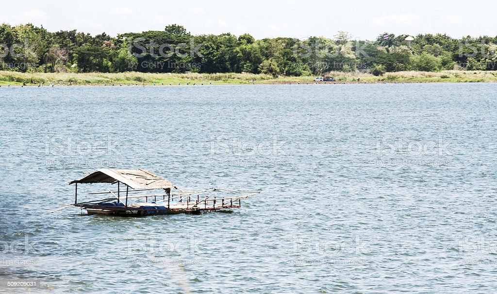 lanscape andpontoon for fishing on water royalty-free stock photo