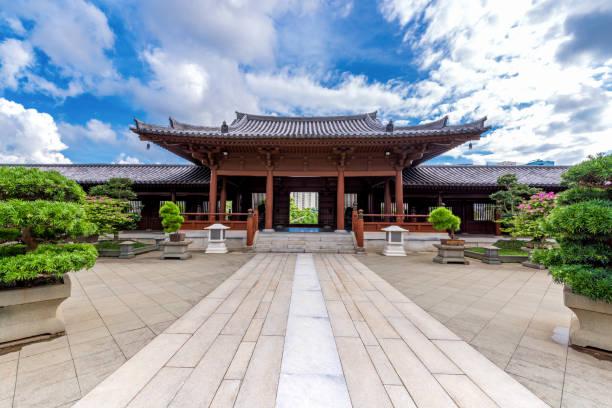 lanscape of chi lin nunnery temple and nan lian garden at hong kong. - lian empty imagens e fotografias de stock