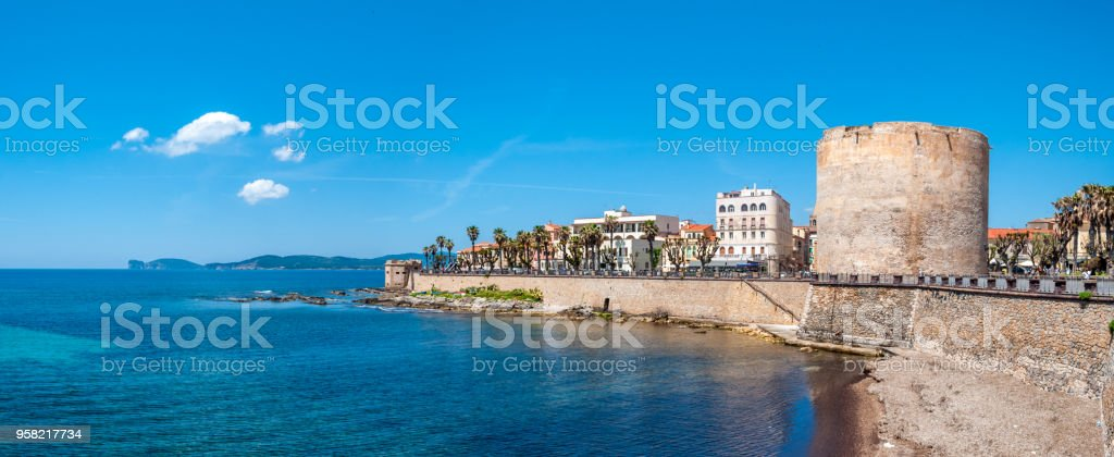 Lanscape of the city of Alghero - Sardinia stock photo