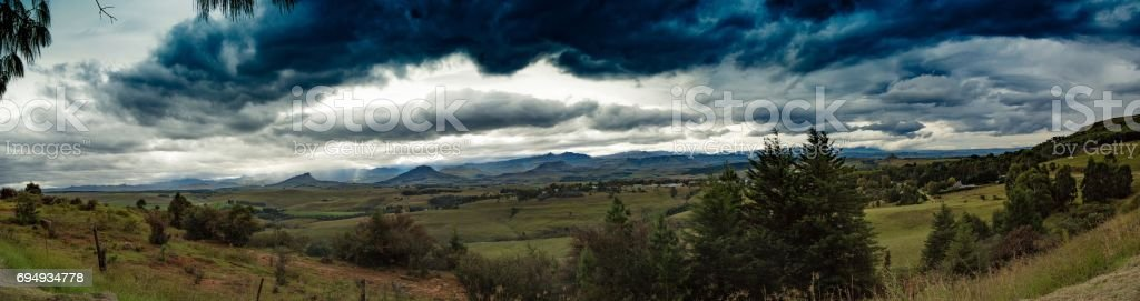 Lanscape of the Drakensberge near the city of Underberg during bad weather conditions stock photo