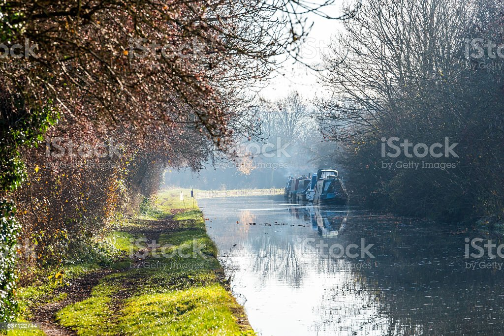 Lanscape View of Boat Channel in United Kingdom stock photo