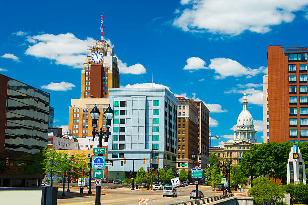 Lansing downtown skyline with the Michigan State Capitol stock photo