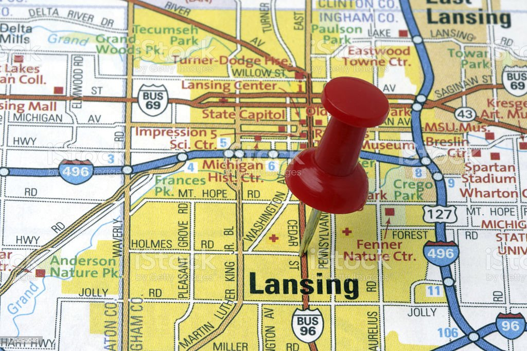 Lansing Michigan On A Map Stock Photo - Download Image Now ...