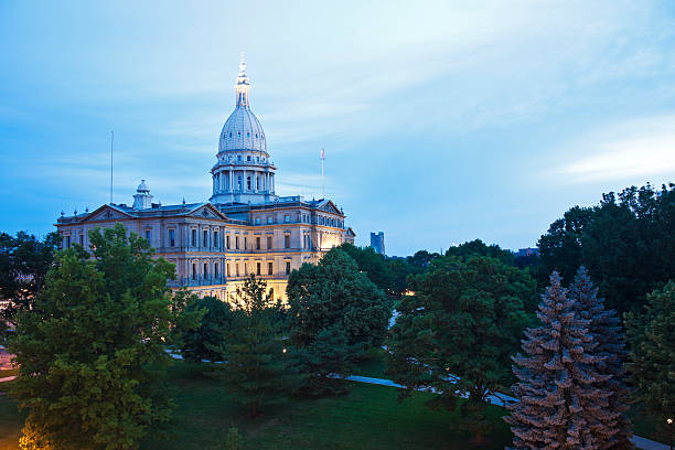 Lansing, Michigan - State Capitol Building Lansing, Michigan  - elevated view of State Capitol Building state capitol building stock pictures, royalty-free photos & images