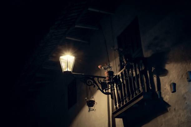 Lantern and balcony in the night stock photo