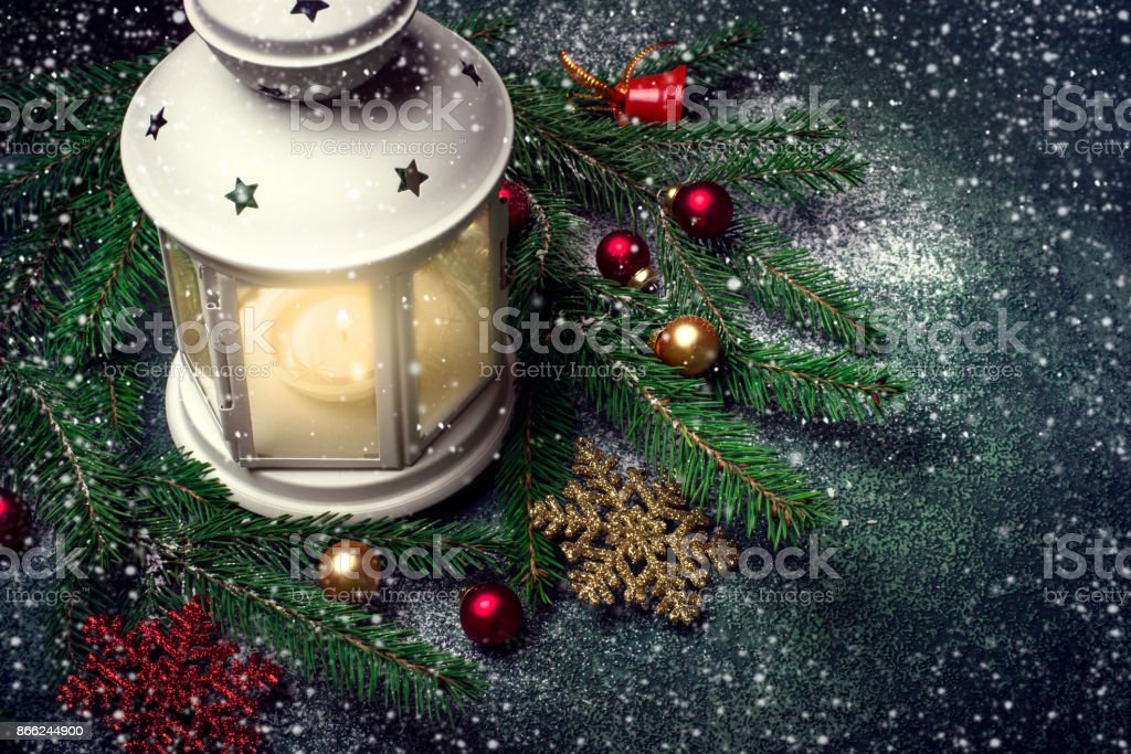 Dark Christmas.Lantern And Christmas Tree Branches On A Dark Background Stock Photo More Pictures Of Backgrounds