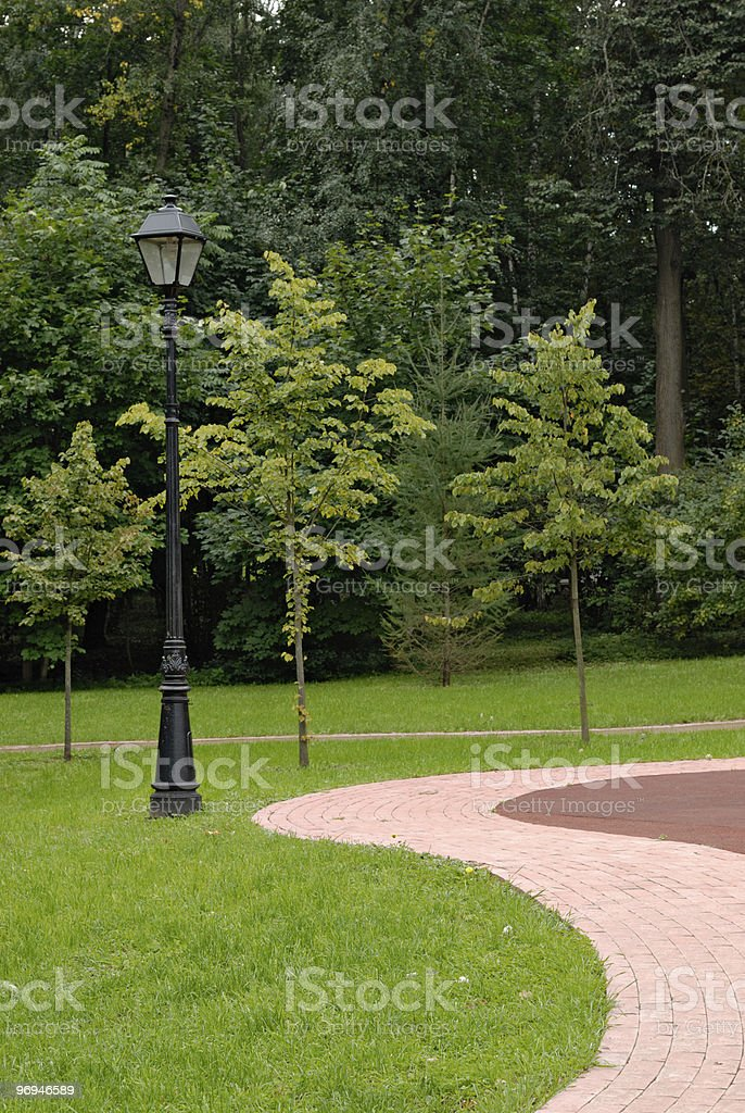 Lantern and footpath in park royalty-free stock photo