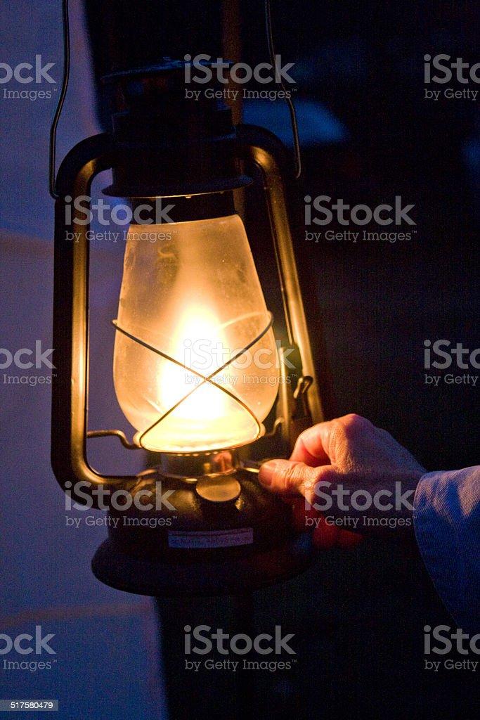 Lantern at night stock photo
