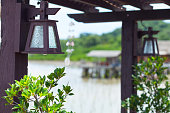 Lantern at pier in fishing industry area of Rayong in Thailand