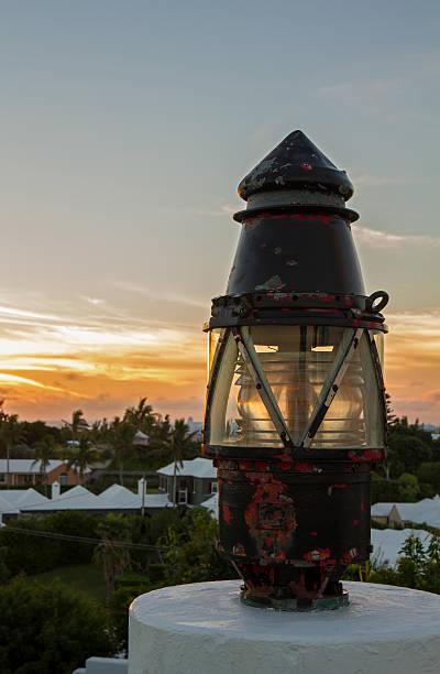 Lantern at sunset stock photo