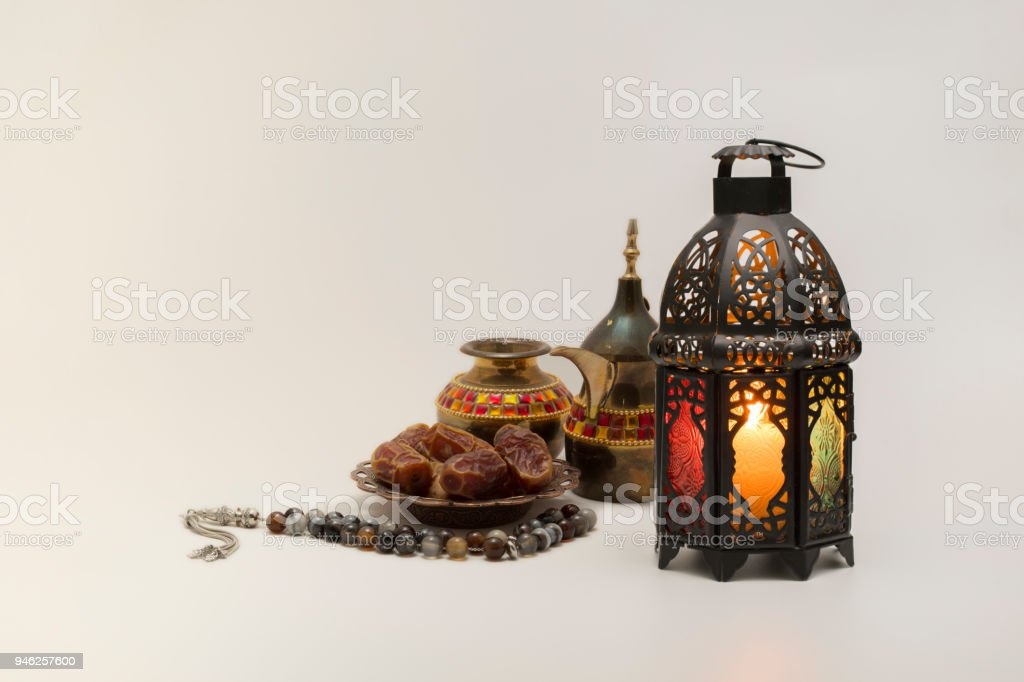 Lantern, Dates fruits with rosary and Coffee pot stock photo