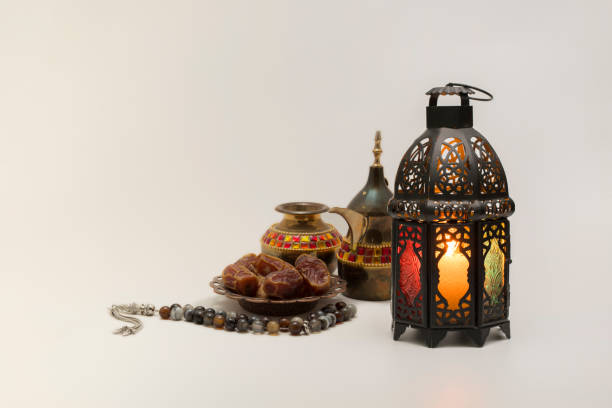 lantern, dates fruits with rosary and coffee pot - ramadan stock photos and pictures
