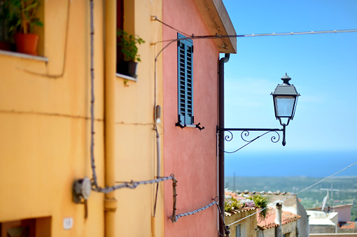 Lantern in a typical italian town